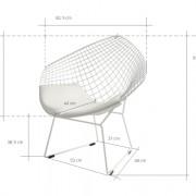 Diament Chair - biela, biely alebo čierny vankúš