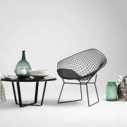 Diament Chair - čierna, biely vankúš