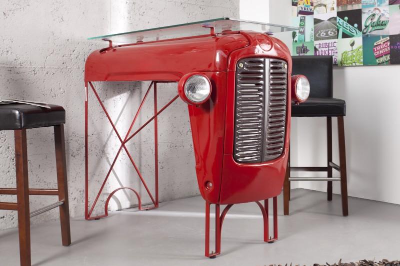 Bar Tresen Tractor Oldtimer Front červená