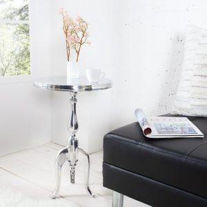 Barock stôl Jardin 55cm strieborná rund