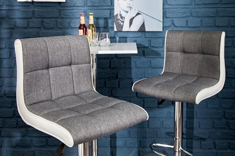 Barová stolička Modena 90-115cm sivá biela