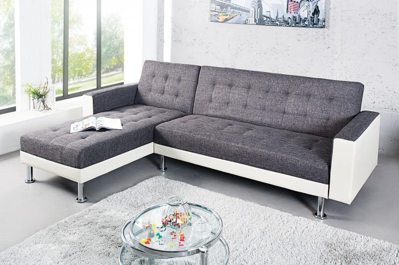 Ecksofa Chaise Lounge biela antracit