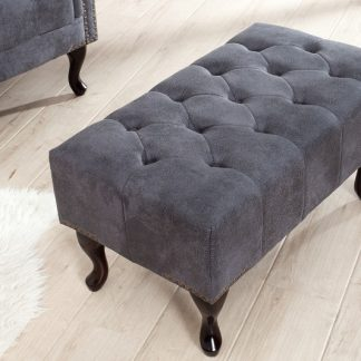Fußhocker Chesterfield sivá antik look