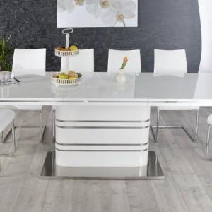 Jedálenský stôl Atlantis 160-220cm biela vysokolesklá