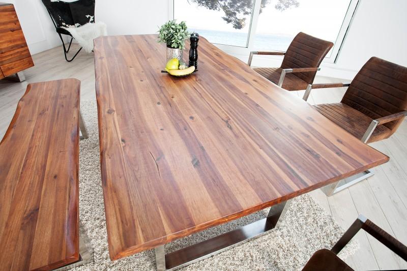 Jedálenský stôl Genesis 160cm agát ušľachtilá oceľ
