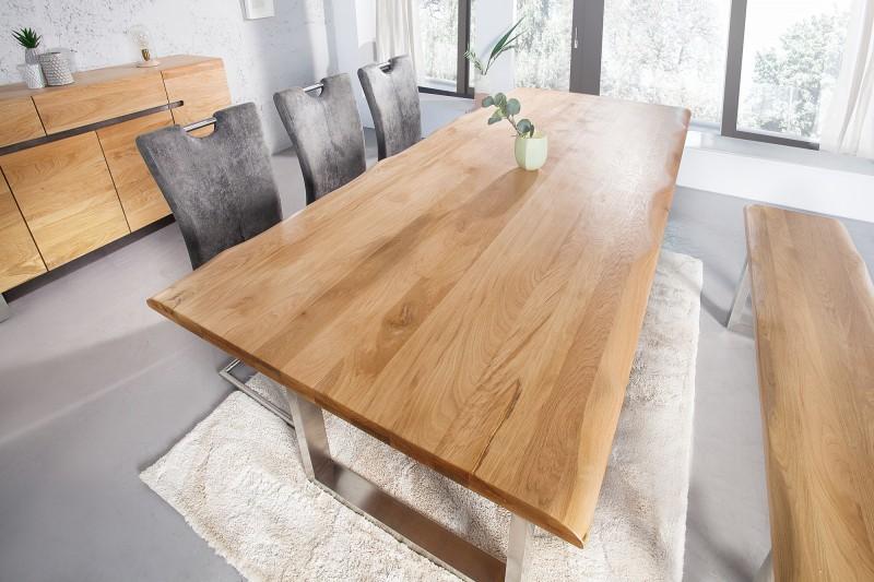Jedálenský stôl Genesis 220cm dub 35mm ušľachtilá oceľ