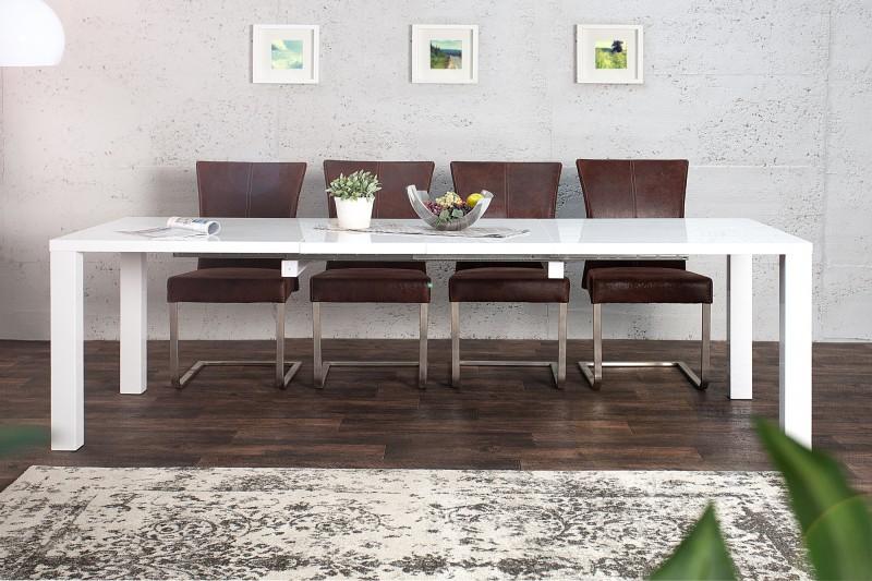 Jedálenský stôl Lucente XL 160-240cm hochgl. biela