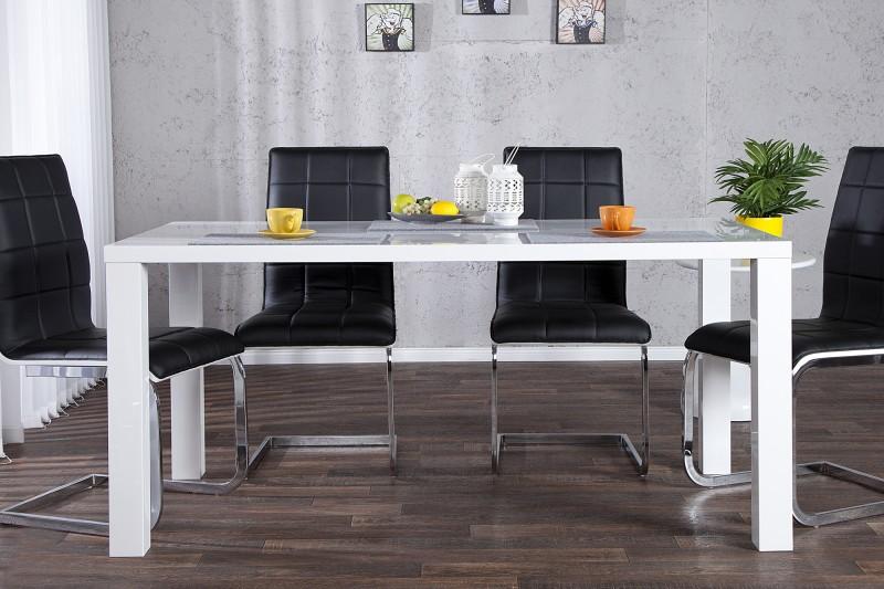 Jedálenský stôl Lucente biela vysokolesklá 160cm