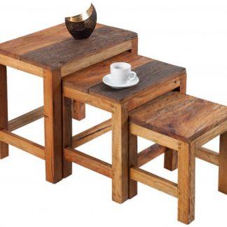 Konferenčný stolík Bali set 3ks,  recyklované drevo