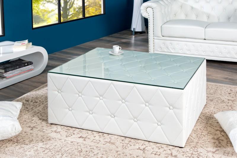 Konferenčný stolík Chesterfield 100cm biela matná