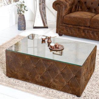 Konferenčný stolík Chesterfield 100cm hnedá Antik
