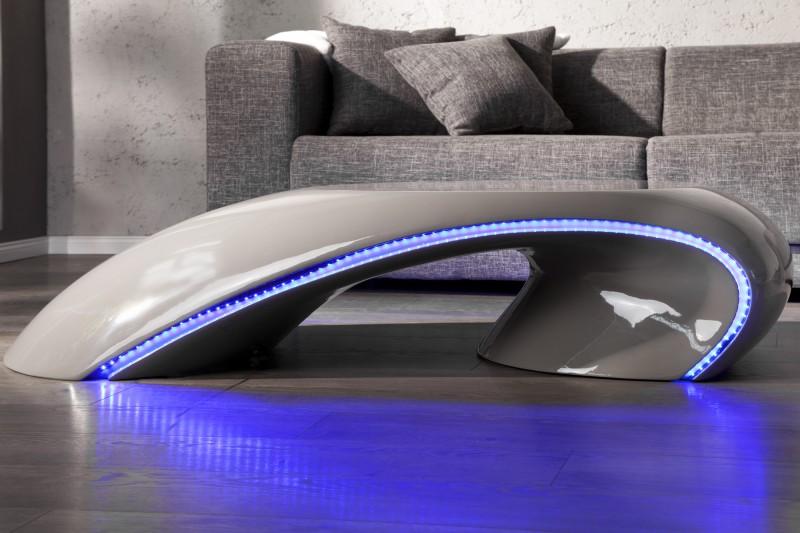 Konferenčný stolík Curve sivá - / LED Beleuchtung