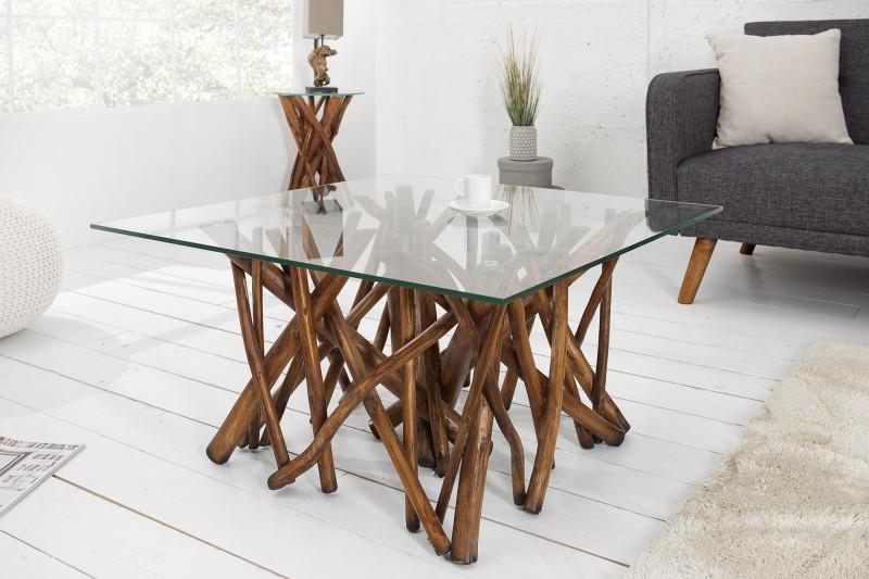 Konferenčný stolík Driftwood naplavené drevo hnedá 80cm