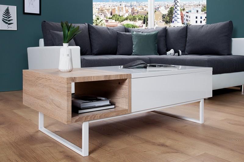 Konferenčný stolík Fabric II biela Sonoma dub