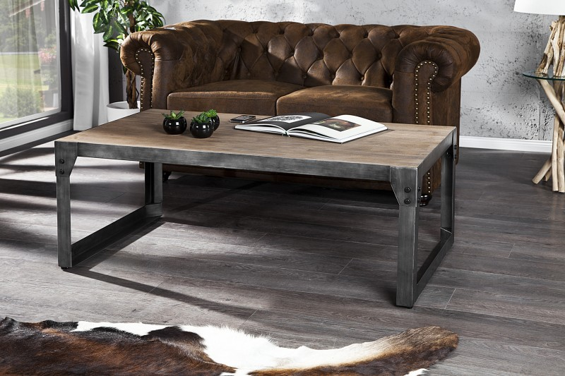 Konferenčný stolík Industrial 110cm Teak šedý gek.