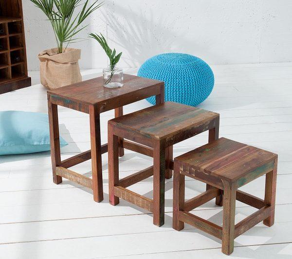 Konferenčný stolík Jakarta set 3ks recyklované drevo