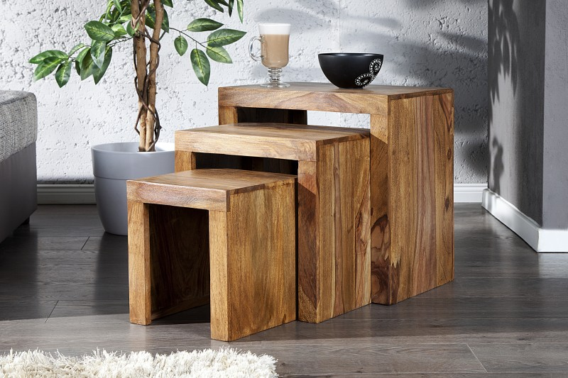 Konferenčný stolík Madeira sheesham 3er-Set prírodná