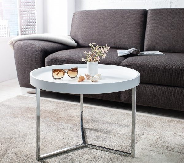Konferenčný stolík Modul 60cm biela strieborná