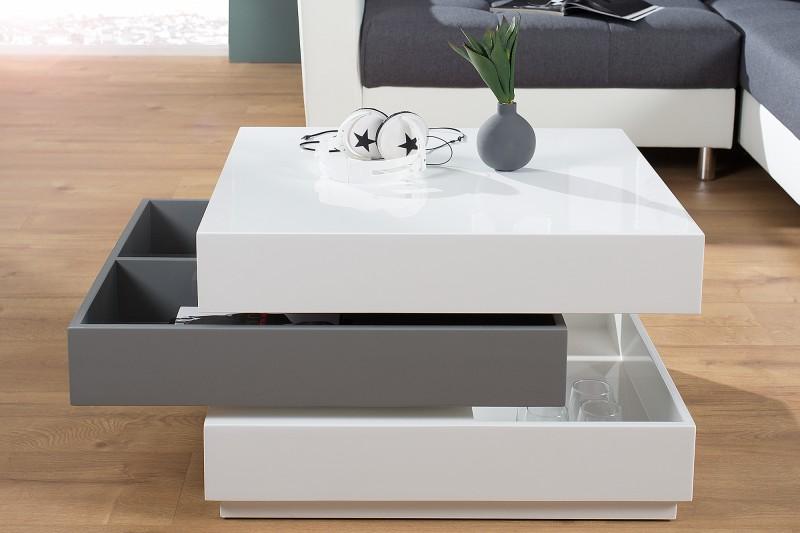 Konferenčný stolík Multilevel biela sivá drehbar