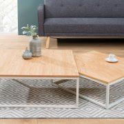 Konferenčný stolík New Fusion set 2ks dub biela
