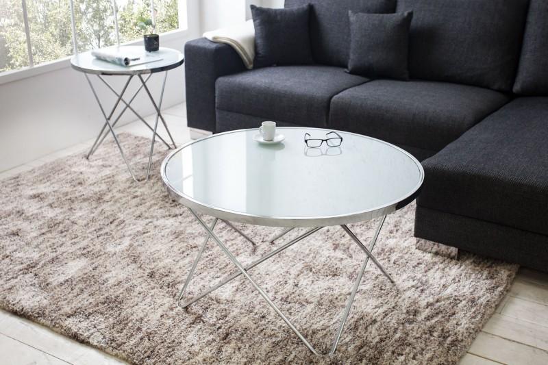 Konferenčný stolík Orbit 85cm chróm-biela