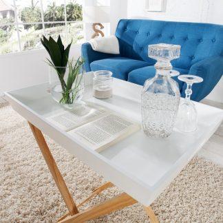 Konferenčný stolík Scandinavia / 2 stolík (podnos)s biela