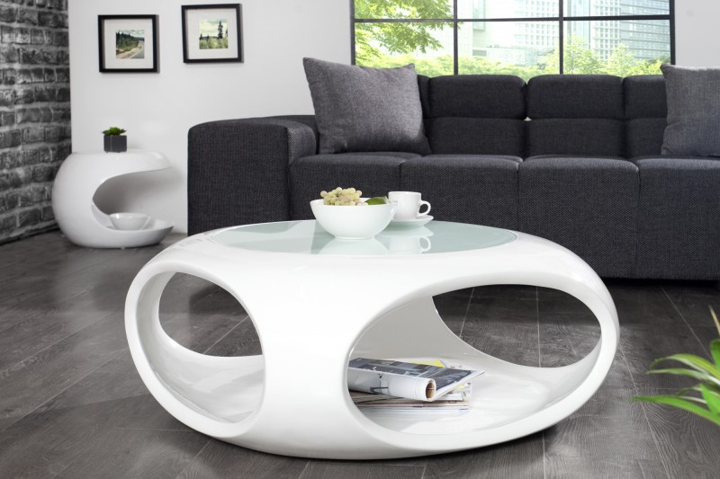 Konferenčný stolík Spin II 75cm biela