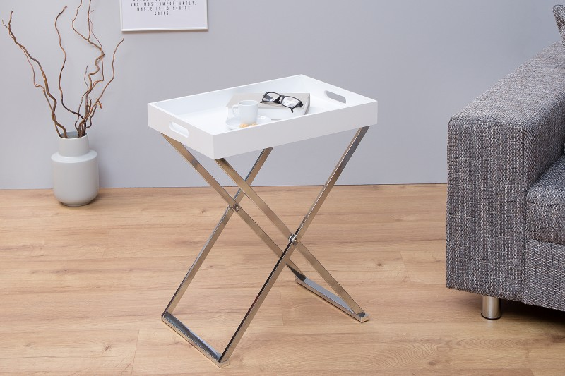 Konferenčný stolík Valet biela strieborná