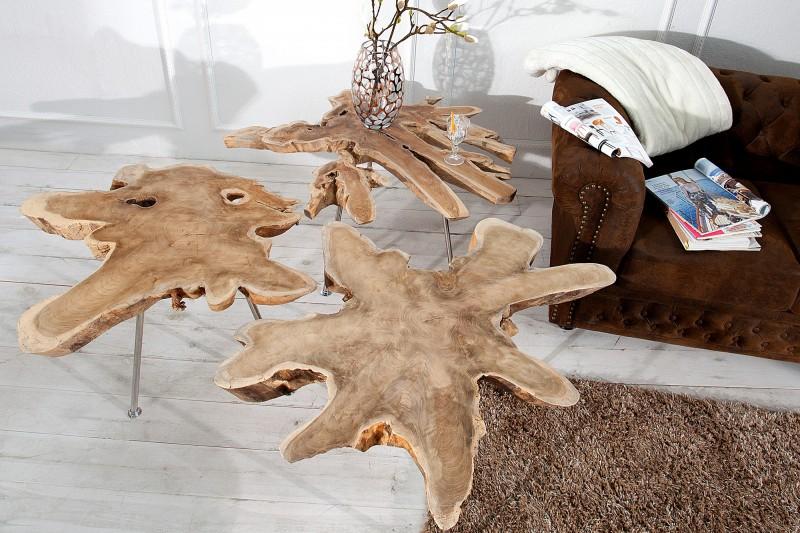 Konferenčný stolík Wild 90cm Baumscheibe teakové drevo