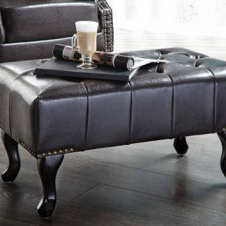 Kreslo Chesterfield dark coffee - Fußhocker