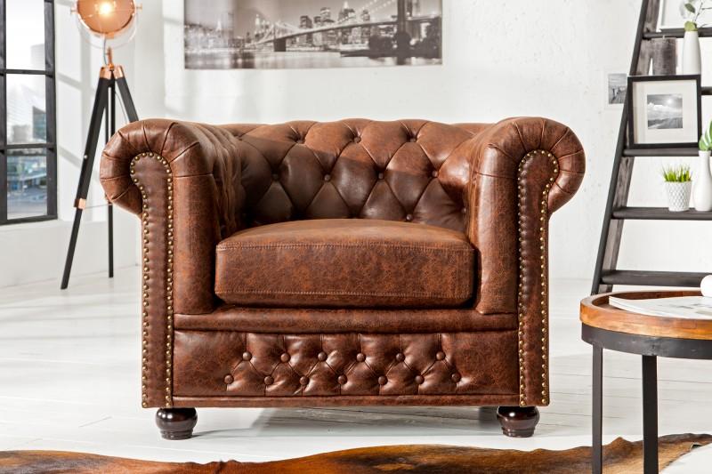 Kreslo Chesterfield vintage hnedá Leder