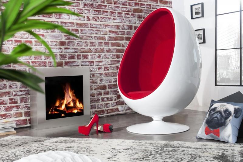 Kreslo Space Egg biela červená