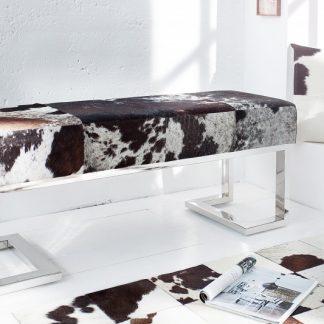 Lavica Rodeo 110cm hnedá biela kožušina