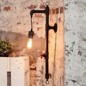 Nástenná lampa Hot Pipe I čierna