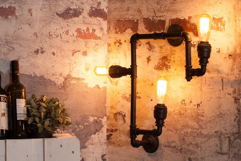 Nástenná lampa Hot Pipe II čierna