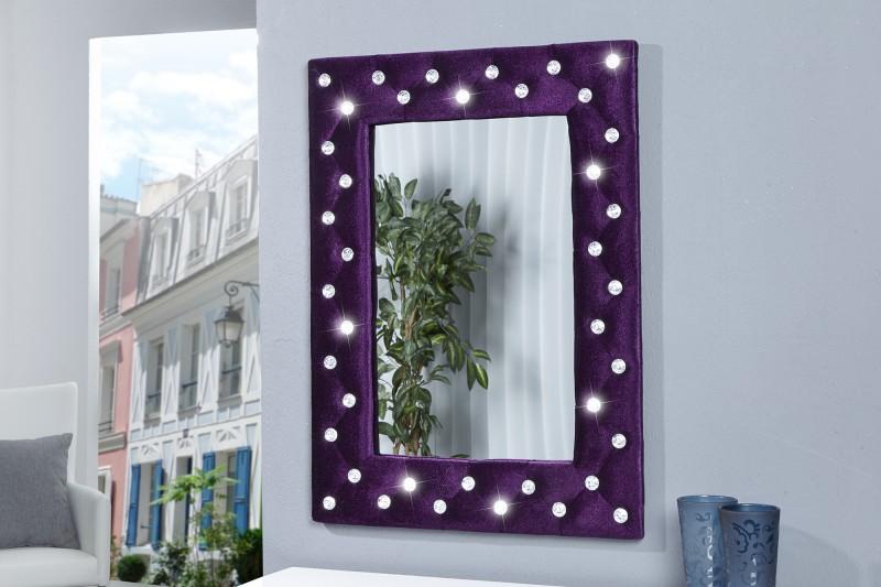 Nástenné zrkadlo Boutique lila / Strassknöpfen