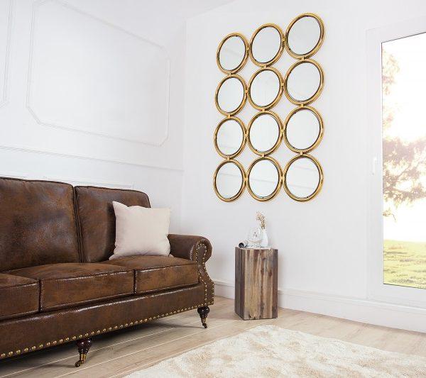 Nástenné zrkadlo Circle 130cm zlatá