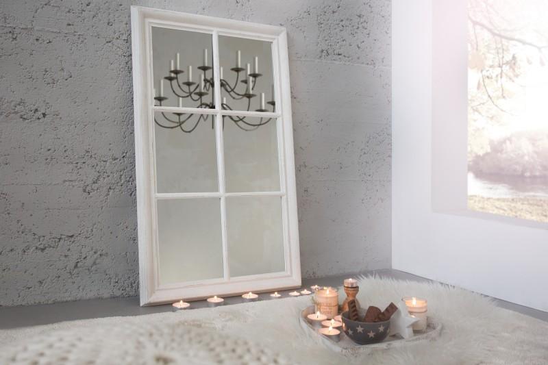 Nástenné zrkadlo Window 105cm sivá vintage biela