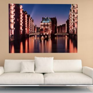 Obraz Hamburg Speicherstadt 100x140cm sklo