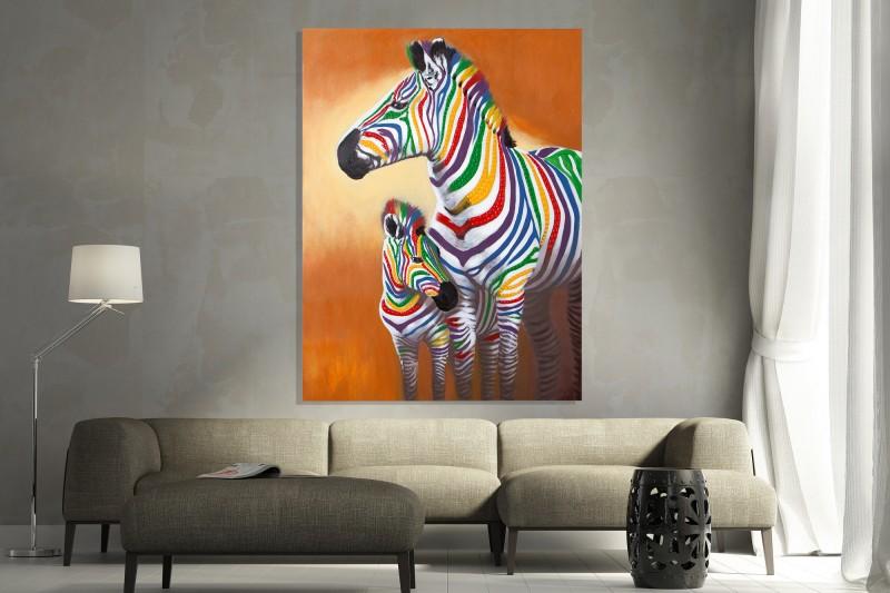 Olejomaľba MotherInLove 75x100cm Zebras