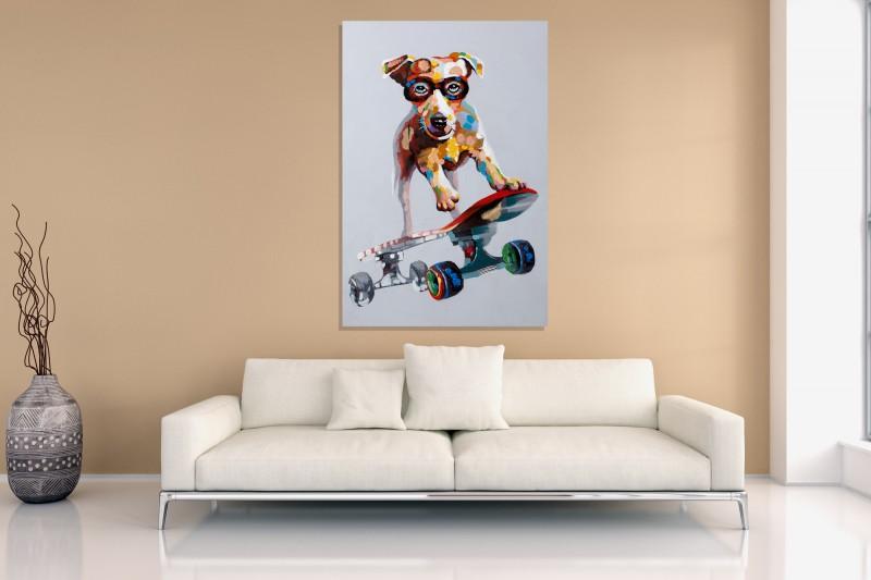 Olejomaľba PopArt Skater Dude 80x120cm Hund