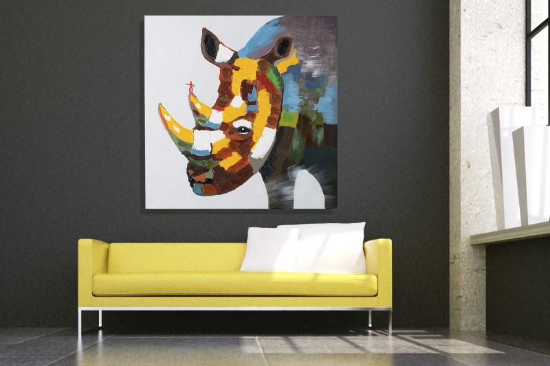 Olejomaľba PopRhino Nashorn 80x80cm