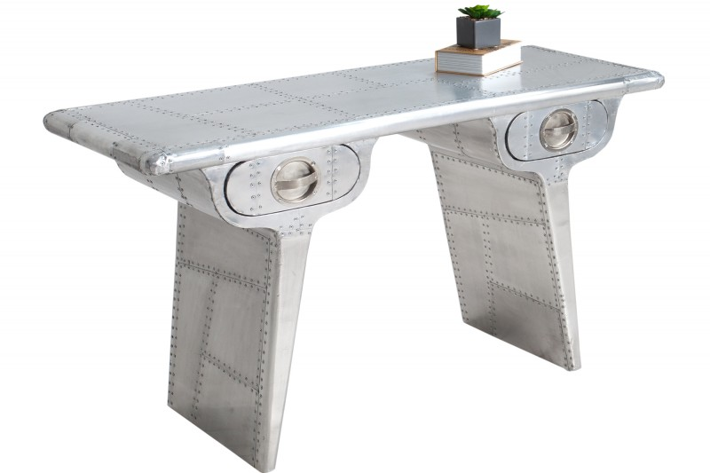Písací stôl Air Craft 120cm strieborná Vintage
