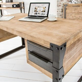 Písací stôl Factory 135cm agát Teak šedý