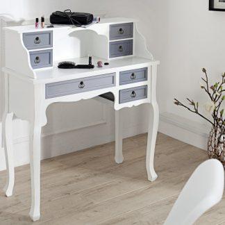 Písací stôl Louis 105cm biela sivá