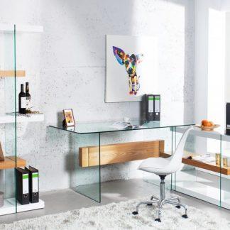 Písací stôl Onyx 160cm biela sklo-dub