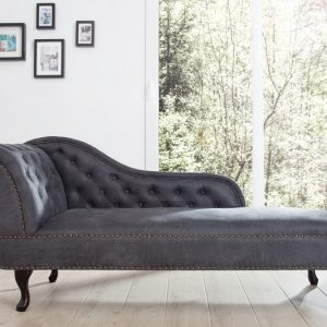 Recamiere Chesterfield sivá antik look