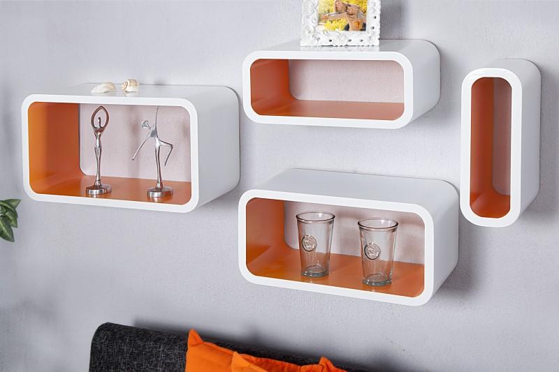 Regál Club Cube 4-er Set biela oranžová