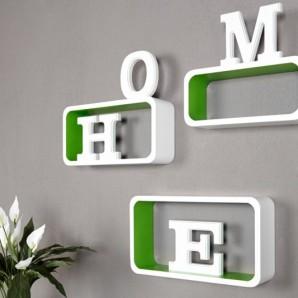 Regál Club Cube SMALL 3-er Set biela zelená