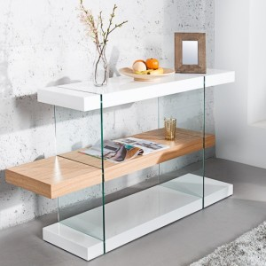 Regál Onyx 75cm biela sklo-dub